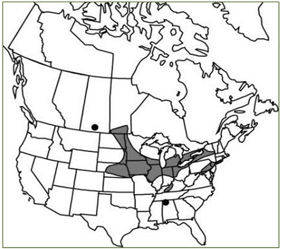Figure 2 - Map: Small White Lady's-slipper distribution. (See detailed description below.)