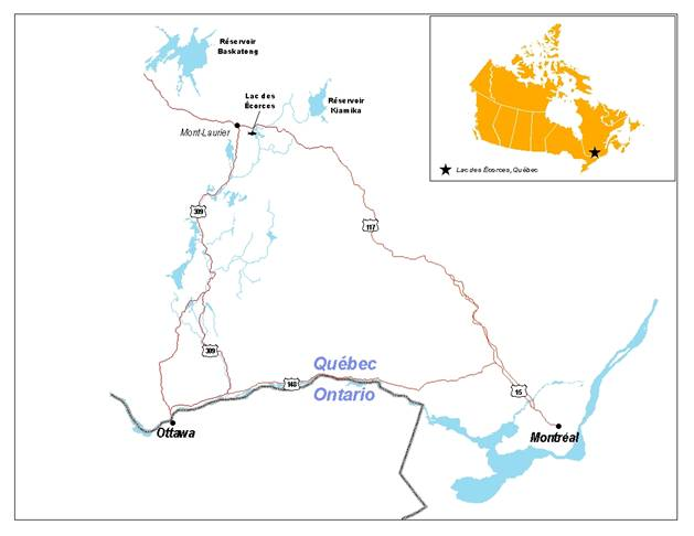 Map showing the range of the Spring Cisco of Lac des Écorces.