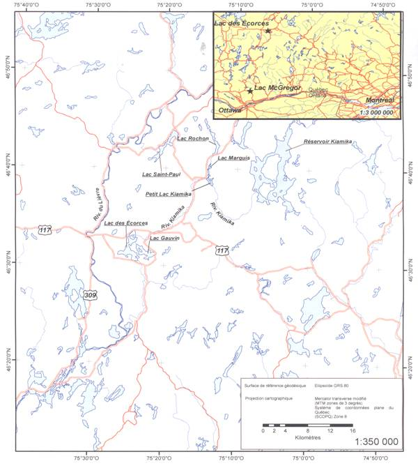 Map showing the location of Lac des Écorces and nearby lakes mentioned in the text that do not contain spring-spawning ciscoes.
