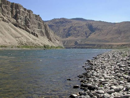 Photo of the South Thompson River north of Ashcroft, British Columbia. No Olive Clubtails have been recorded on the Thompson River downstream of Kamloops Lake.