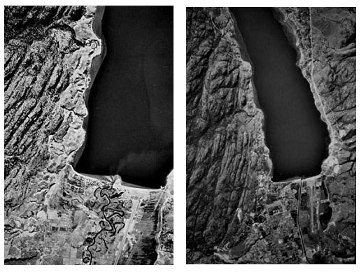 Aerial photos of the Okanagan River entering Skaha Lake at Penticton. Left image taken in 1949; right image taken in 1982.