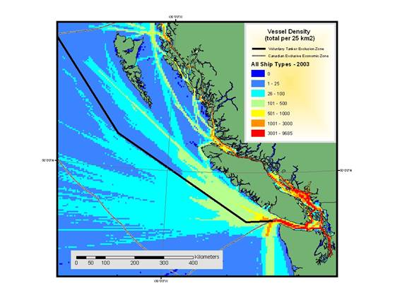 Figure 4. Vessel traffic density for all ships in 2003, as reported by Canadian Coast Guard, Marine Communications and Traffic Services. Map adapted from O'Hara and Morgan (2006).